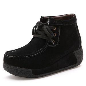 Femmes Bottine Nouvelle Mode Les Chaussures De Loisirs Sneaker suédé Qualité SupéRieure Femme Bottines Plus Taille,noir,38