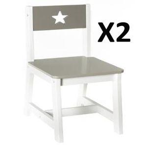 CHAISE Lot de 2 Chaises pour enfants en bois taupe et bla