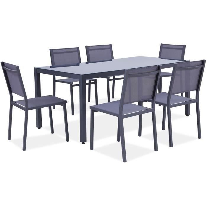 Ensemble repas de jardin 6 personnes Aluminium - Table avec plateau en verre 180 x 90 cm + 6 chaises