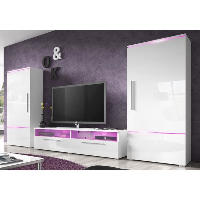 Ensemble Meuble Tv Blanc Laqué Brillant Design Canon Sans