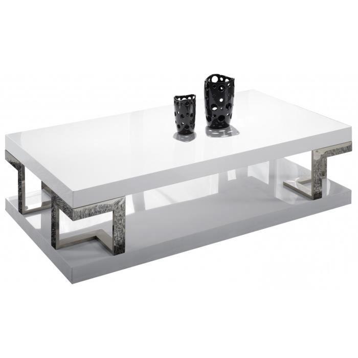 Table Basse Rectangulaire En Mdf Coloris Blanc Laqué Achat Vente