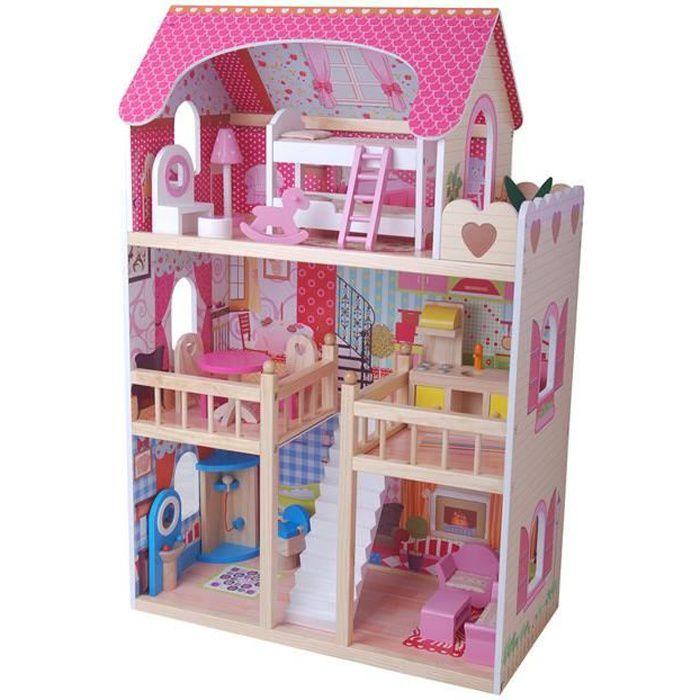 maison de poup e en bois r ve de poup e achat vente. Black Bedroom Furniture Sets. Home Design Ideas