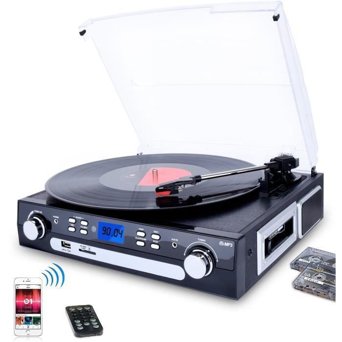 Digitnow! Tourne-disque Bluetooth, Platine Vinyle 33-45-78 Tr-min Avec Haut-parleurs Intégrés, Encodage Du Au Mp3, Encodag