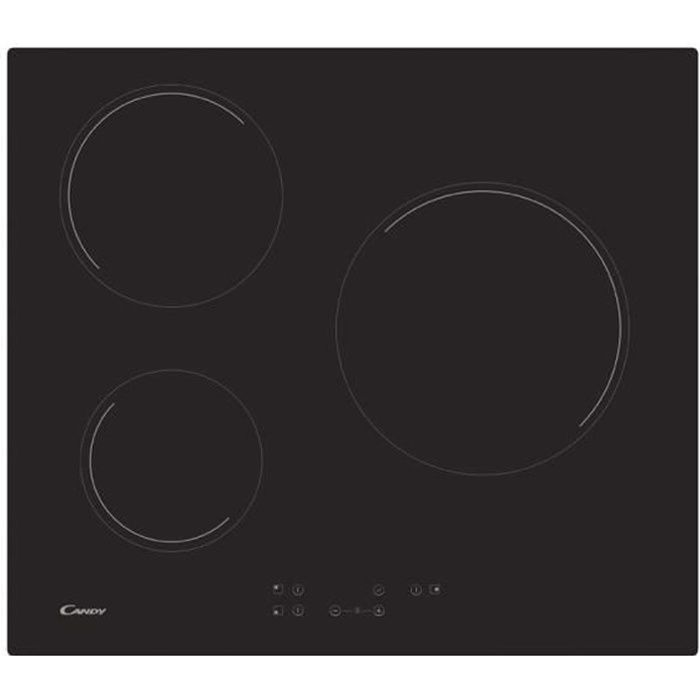 le dernier 1aee0 7d557 Table de cuisson vitrocéramique 59cm 3 feux 5.5kw noir - CH63CT-1 - CANDY