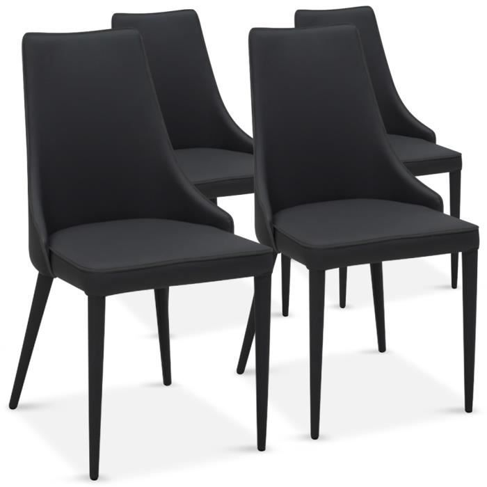 Lot de 4 chaises drago noir achat vente chaise noir for Les chaises modernes
