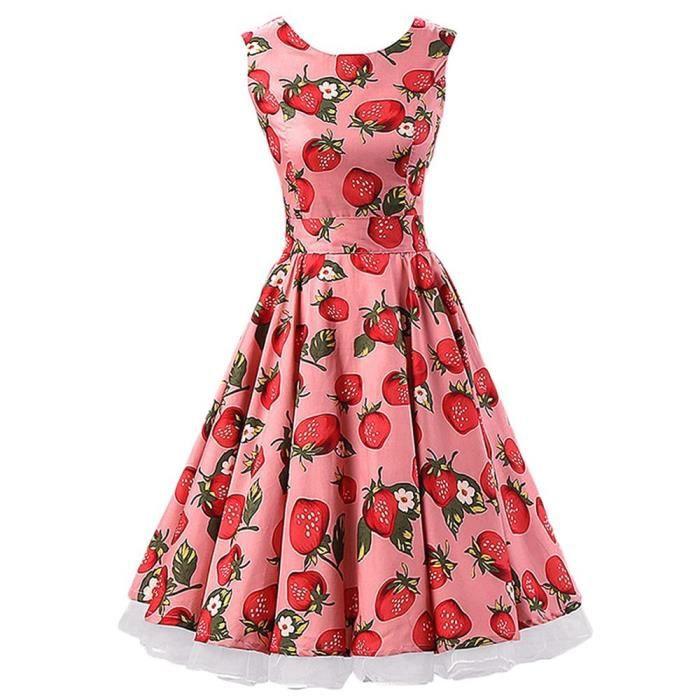 5729f22d49a MicBridal®robe de rockabilly courte robe vintag... Rouge fraise ...