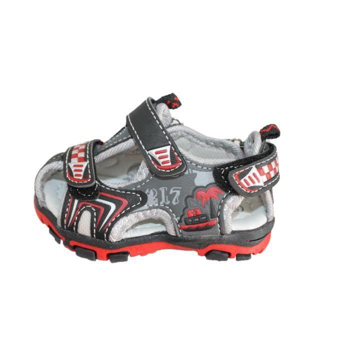 sandales à scratch noire et rouge TSBgl8hoi