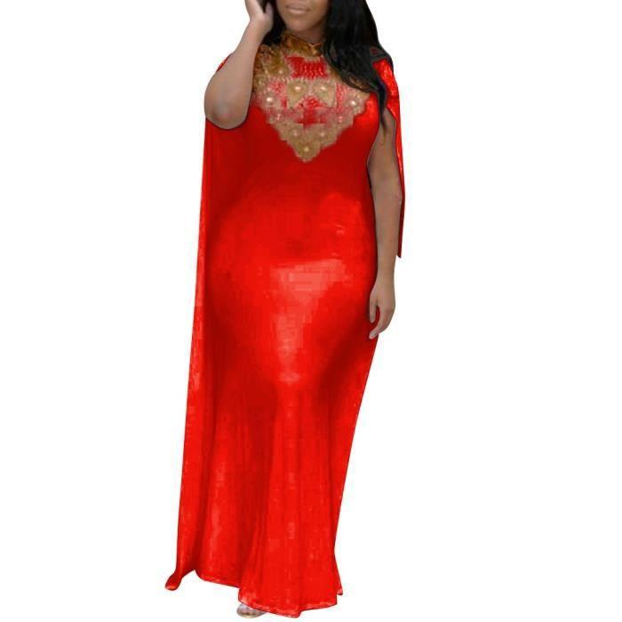 e022d311475 Rouge Robe Longue de Soirée Cocktail Mariage Bal Sirène Sexy Fourreau Col  Montant Haut Strass Tunique avec Cape Grande Taille