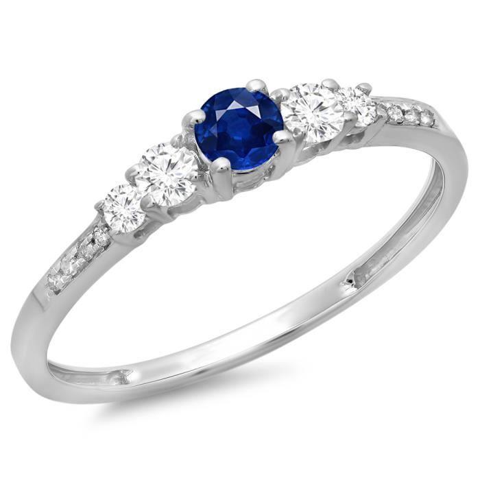 Bague Femme 14 ct 585-1000 Or Blanc Rond BleuSaphir Diamants 5 Pierres