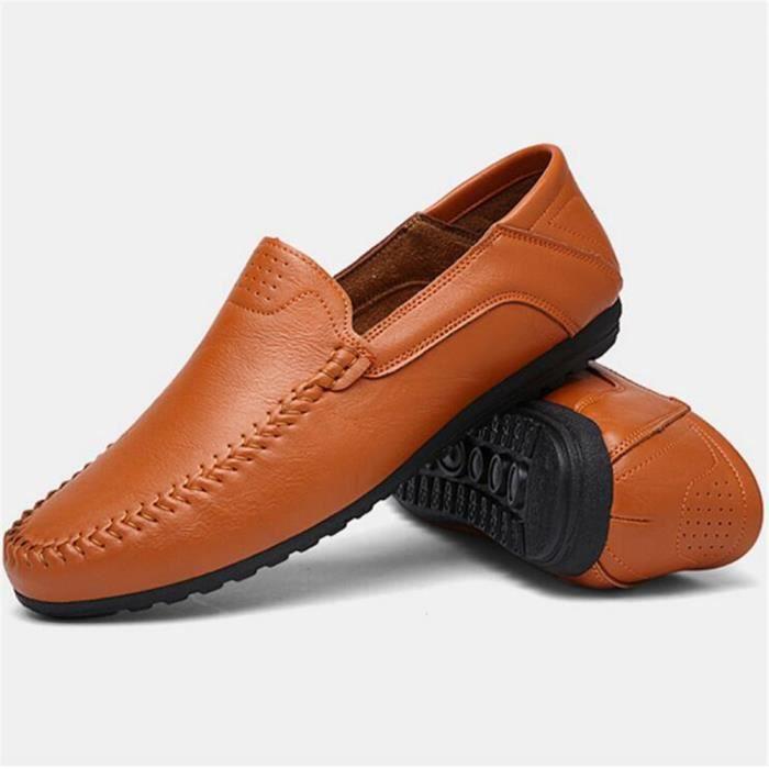 Cuir qualité ete Taille De Haut En 2017 Travail De Chaussures Luxe Moccasin Antidérapant Marque à homme la main Grande FRxq8