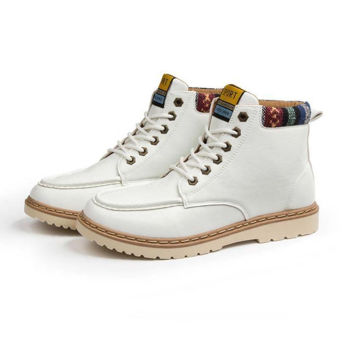 Napoulen®Mode automne loisirs haute-haut lacet-up bottes Martin extérieur pour hommes Blanc-SJF71208731WH f8rmA3JoW