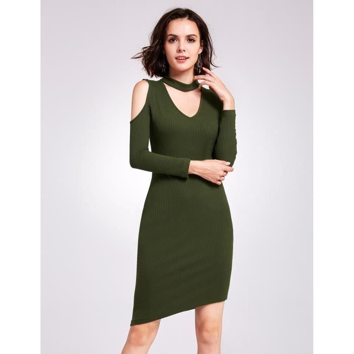 fa1e5b096d8 Robe pull vert asymétrique col V épaule dénudée manche longue Vert ...