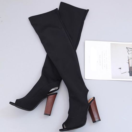 Femmes Shoes Stretch Faux The 6361 Boots Slim Heels Noir Toe Knee Over Peep xz High W9IEDHY2
