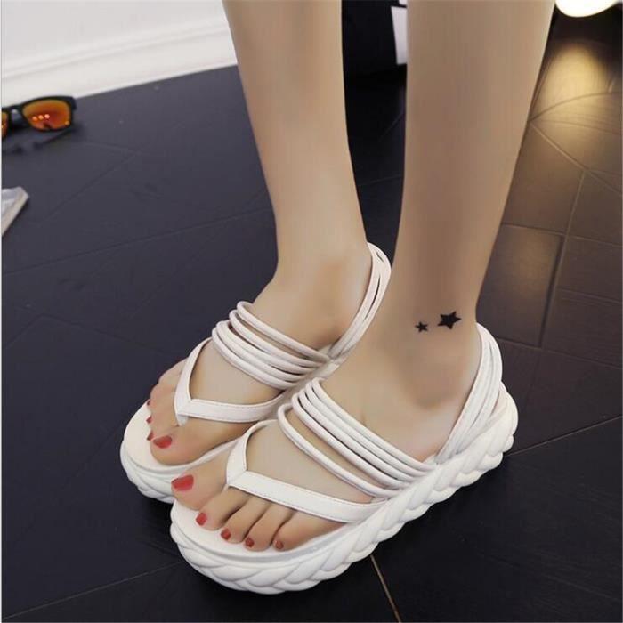Pantoufle Chaussures Femme Ultra Confortable Été High Heel Sandals Sexy Respirant ClassiqueHaut Qualité ZX-x007-blanc-40