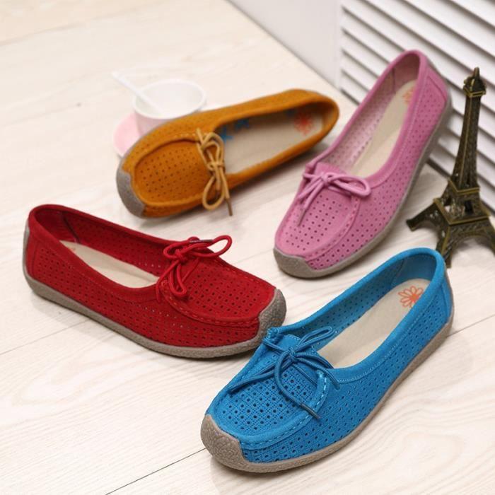 Mode Femmes en cuir véritable mère Chaussures Mocassins femmes Soft Loisirs Flats Femme Driving Chaussures plates,bleu,38