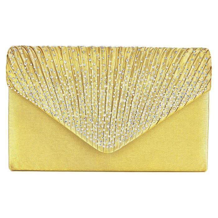 Bourse dembrayage sac de soirée enveloppe Diamante et rabat plissé sac à main S8Z4J