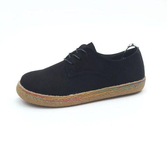 Suede Lacets Martin Femmes noir Plates Douces Bottes Chaussures Spentoper Flock Femme Bottines À Pn0q41wx6