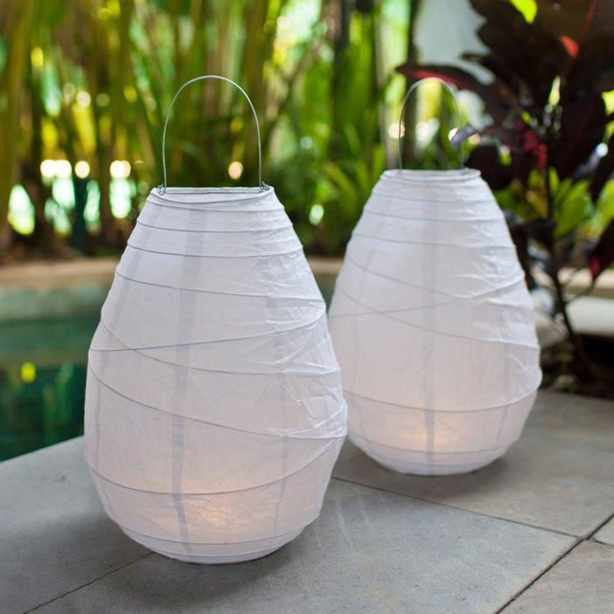 lot de 2 lampions en papier blanc avec led blanc chaud piles achat vente lampion 2. Black Bedroom Furniture Sets. Home Design Ideas