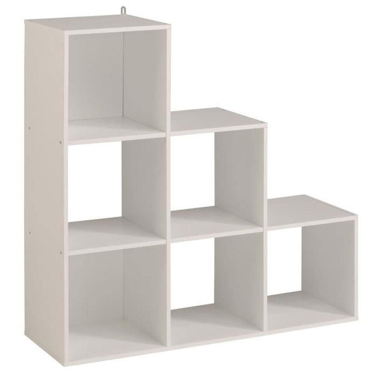Cube de rangement Etagère 6 cases dégradé coloris blanc, L91x H91 x ...