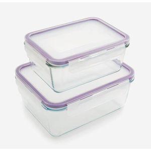 BOITES DE CONSERVATION Set de 2 boîtes en verre avec couvercle Kitchen Fr