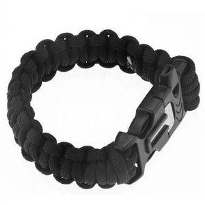 OUTILLAGE DE CAMPING 4-en-1 Corde Bracelet Survival extérieur (Noir)
