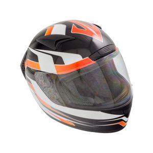 Casque Moto Noir Et Orange Achat Vente Pas Cher