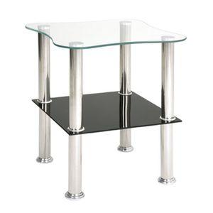 TABLE D'APPOINT Table d'appoint optique-inox-noir en verre trempé,