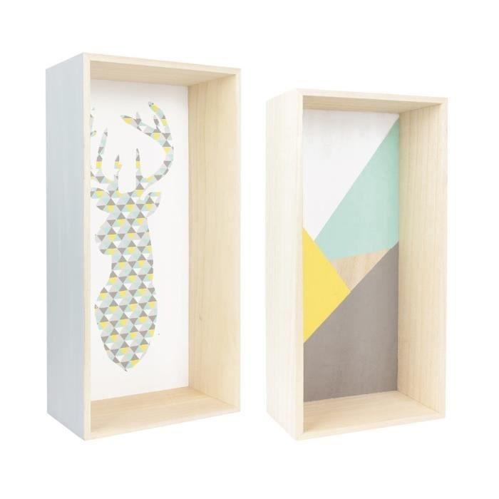 Bois - Dimensions : 22x11x44 cm - Vert et gris - Elles apporteront une touche scandinave à votre intérieurETAGERE MURALE - ECHELLE ETAGERE