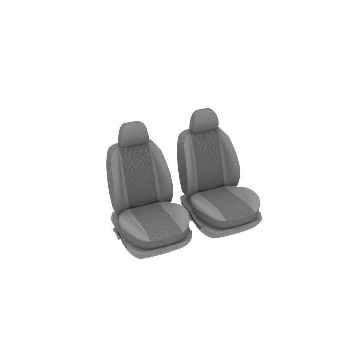 DBS Housses universelles 2 sièges avant - Maille gris sur les parements - Bande centrale en jacquard tissé noir et gris