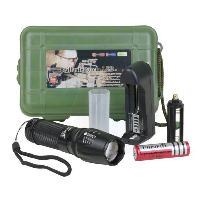 TORCHE DE JARDIN LED torche électrique tactique Zoomable lampe torc