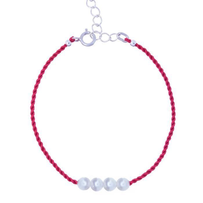 Bracelet femme Amitié perles naturelles argent 925 sur soie rouge Bracelet chaîne LOWCG