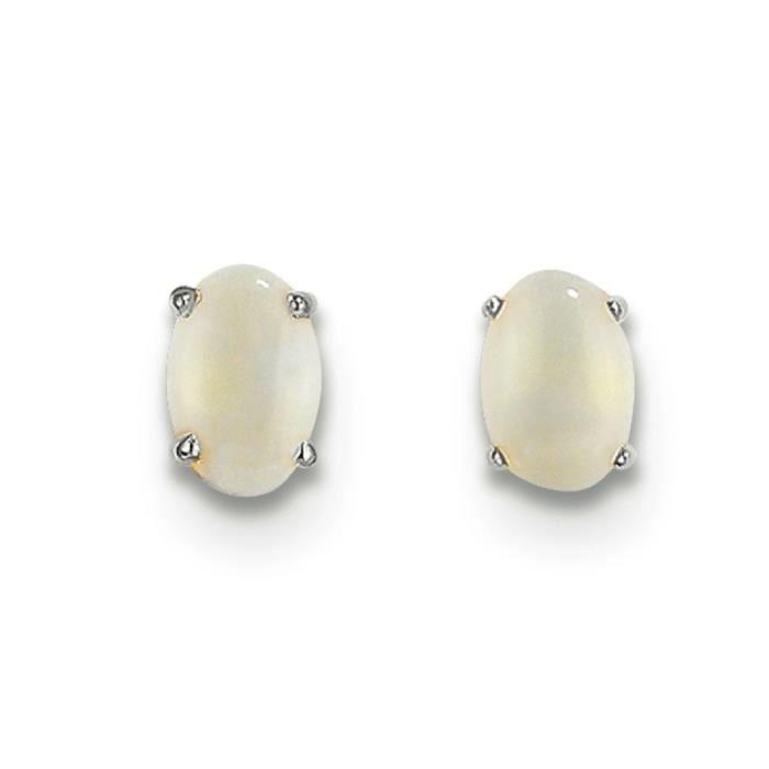 Or blanc 14 carats Opale-Octobre-Boucles doreilles