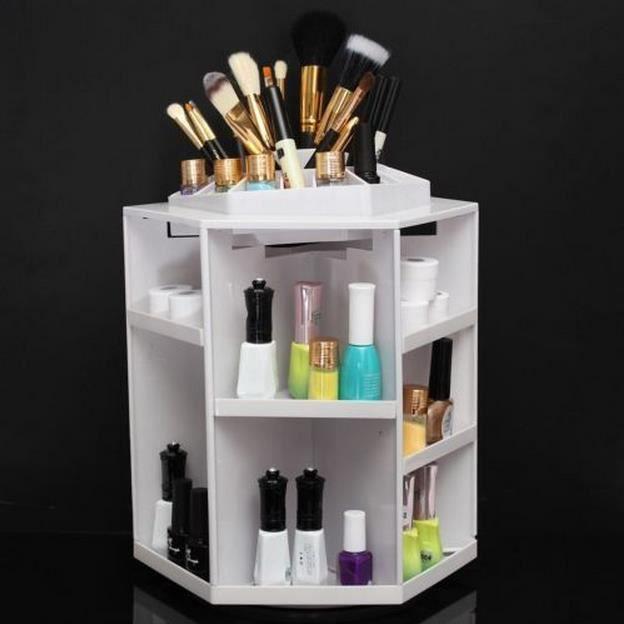 360° Cosmétique Boîte Présentoir Rond Organisateur Rangement Maquillage Bijoux(blanc) - Achat ...