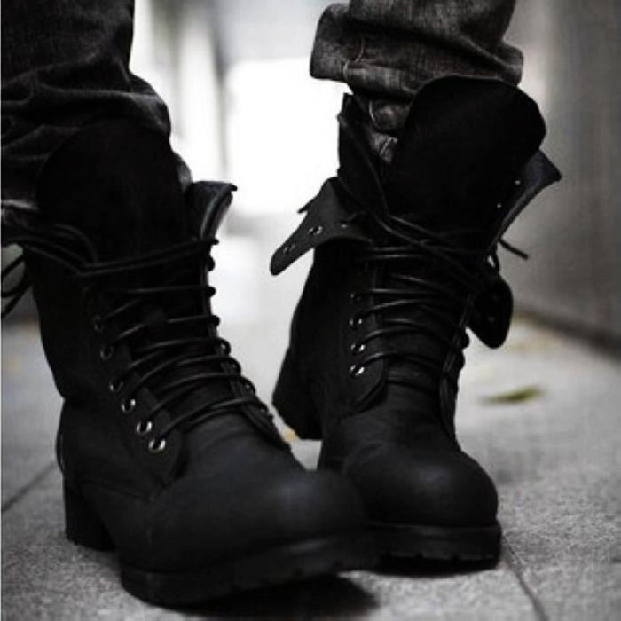 43 verges de bottes simples de noir en cuir verni chaussures hommes mode augmenté chaussures à fond épais version coréenne de bottes