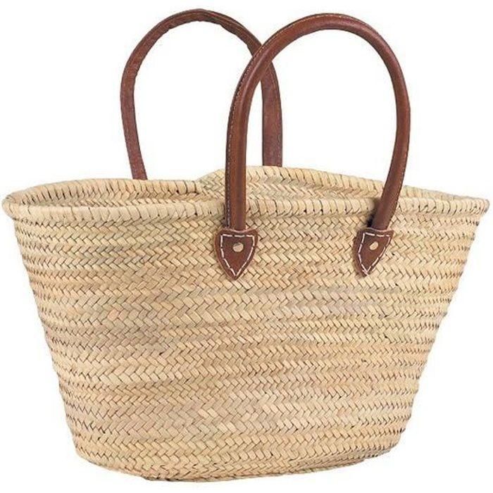 couffin palmier avec grandes anses en cuir sco1190 achat vente panier sac de plage. Black Bedroom Furniture Sets. Home Design Ideas