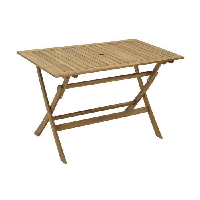 Table de jardin rectangulaire 120x70cm Pliante en acacia FSC LAEMIS ...