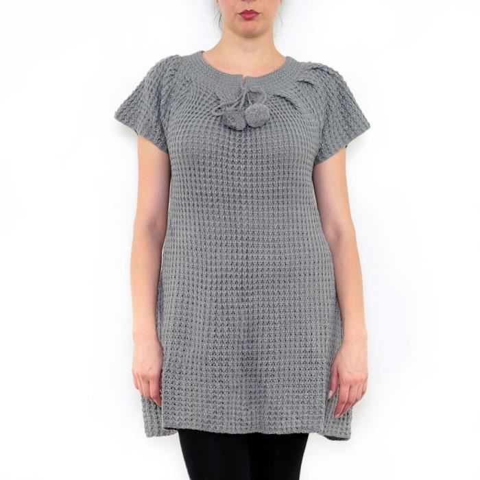 Robe Tricot Femme Manches Courtes Laine Pull