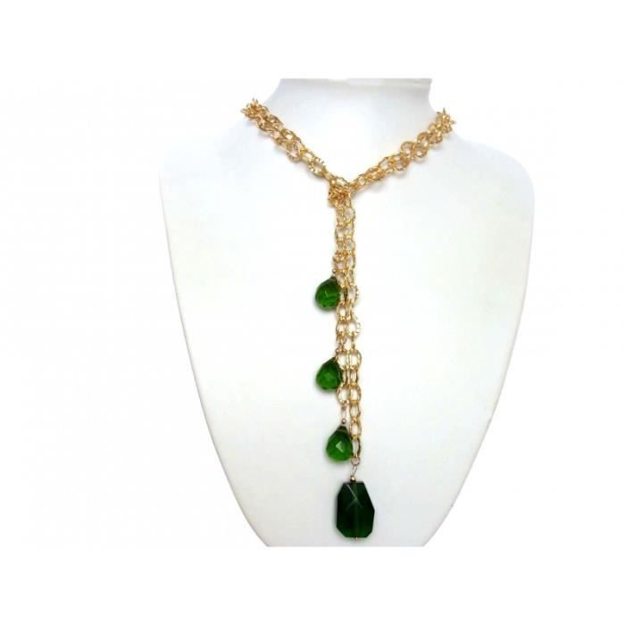 Gemshine - Femmes - Collier - Lariat - Or - Tourmaline Quartz -Tropfen - Vert - 100 cm