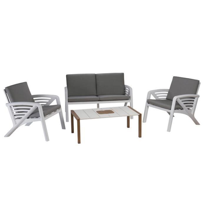 Salon bas de jardin 4 personnes résine-alu: canapé 2 places + 2 ...