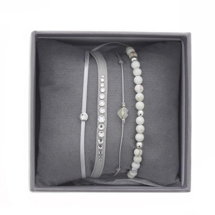 Bracelets Les Interchangeables Strass Box Mini Glam gris et coquille doeuf
