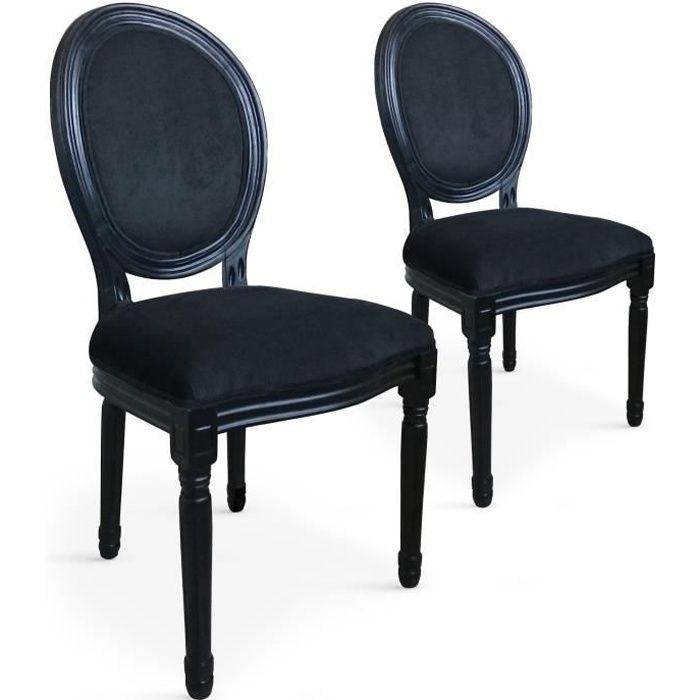 846b857534aca Lot de 2 chaises médaillon Louis XVI Black Velours Noir - Achat ...