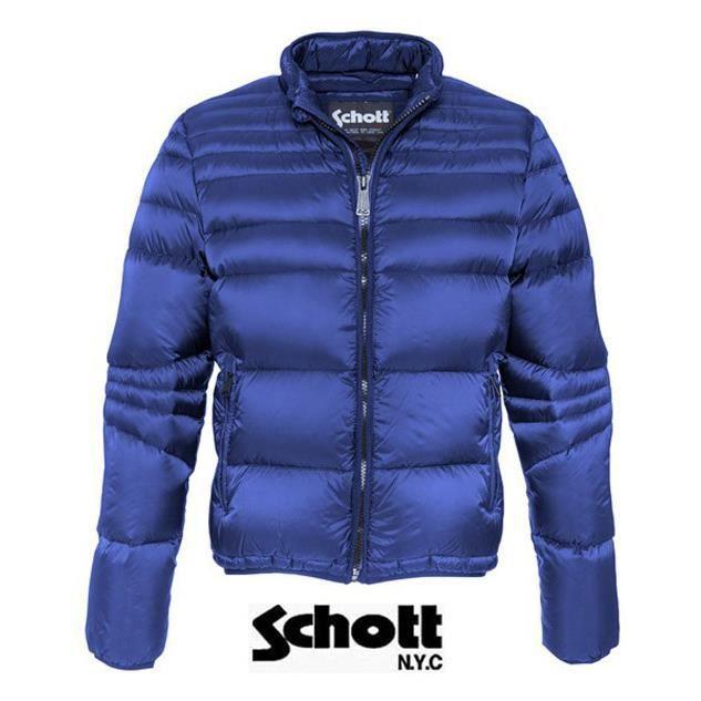 Doudoune légère plume Schott ble... Bleu - Achat   Vente doudoune ... 8cff40647188