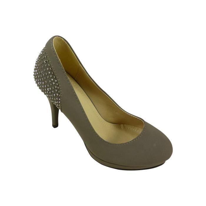 Hauts taupe Strass Gris Escarpins Plateforme Chaussures Et Femme Talons w4B1nqgt