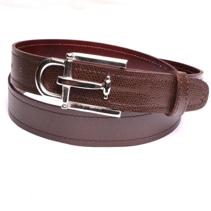b059a58b30ca Ceinture hommes boucle luxe couleur argent cuir naturel marron largeur 4 cm  made in France fabrication handmade.
