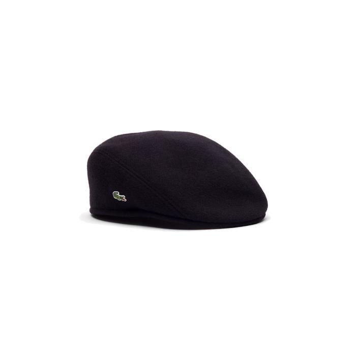 62cc18b136 Lacoste - Homme - Casquette plate berret en laine noir RK9814 Noir ...