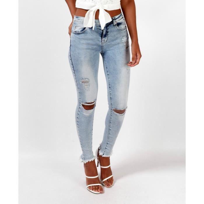 pantalon en jean femme taille haute stretch collant trou aux genoux taille haute sexy. Black Bedroom Furniture Sets. Home Design Ideas