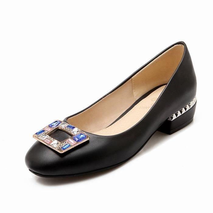 Chaussures Femme Bride Perle Strass Plateforme Epais à Fond Plat Couleur Pure Confortable Club Soiree Cheville