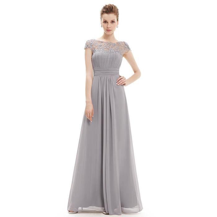 3c5213bf726 Robes de Cérémonie Femme Longue Dentelle Robe de Soirée Cocktail Bal  Elegant Sans Manches Gris
