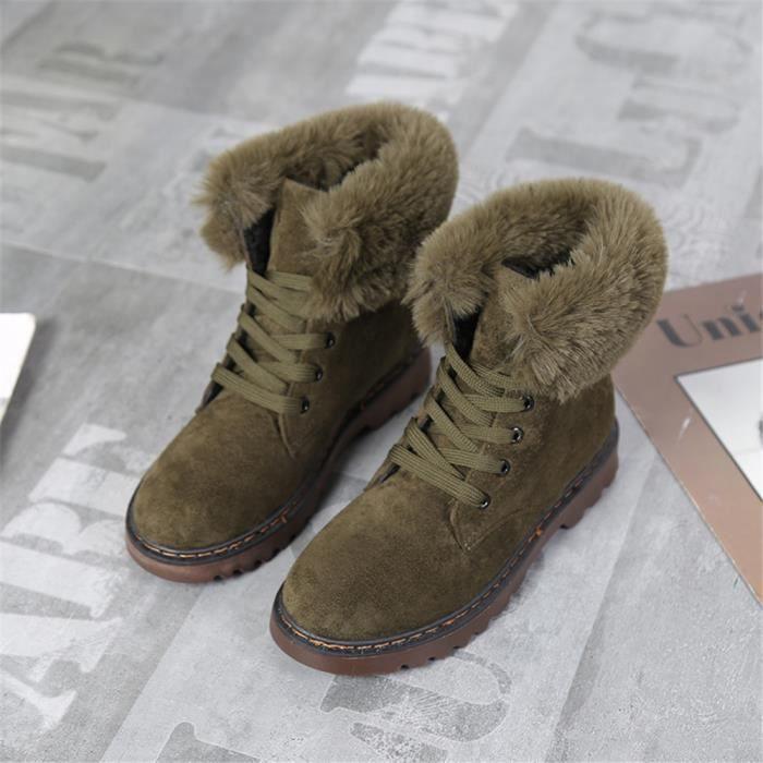 Martin Bottines Femmes Marque De Luxe Les Chaussures de doublure en laine Qualité SupéRieure Bottine Femme Plus De Couleur,vert,40