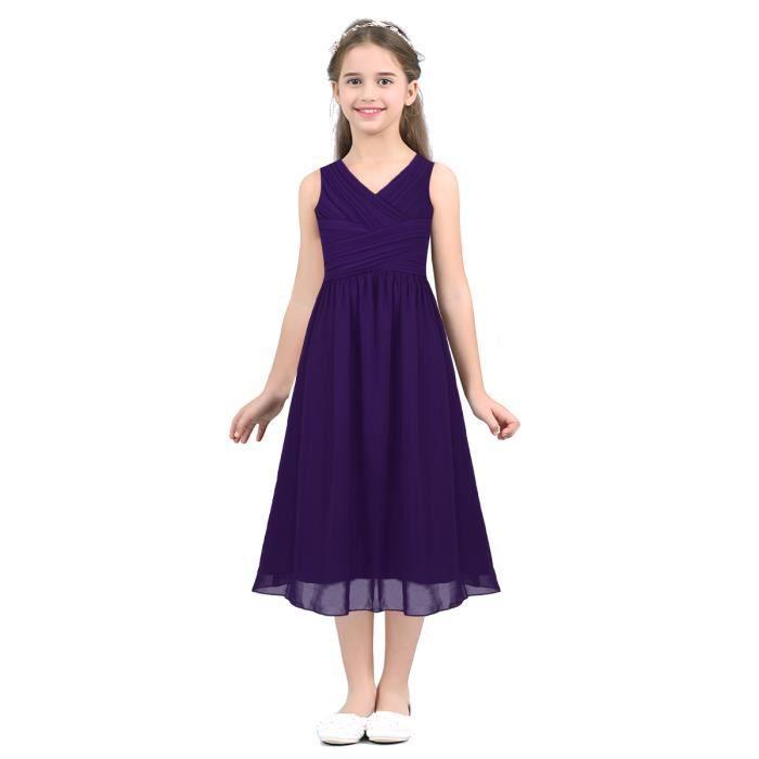 5f6dd01aa10 Robe Longue Fille Enfant Sans manches V col taille haute avec Nœud ...